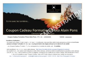 Coupon adeau Formation Photo Alain Pons